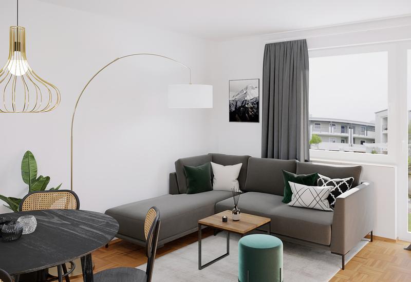 proposition de projet 3D pour aménager un salon avec un coin repas - Westwing 2