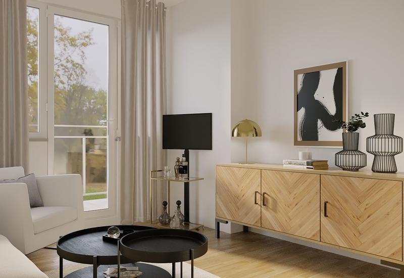 projet 3D aménagement salon en longueur par Westwing 2