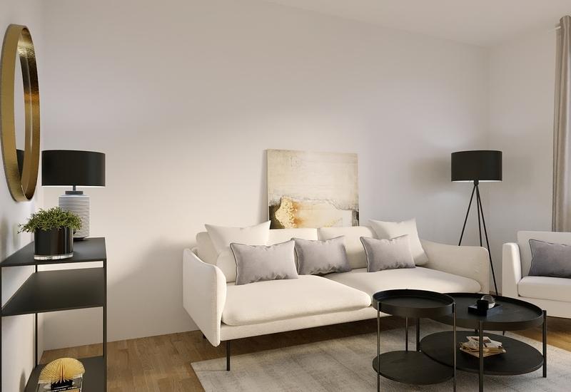 projet 3D aménagement salon en longueur par Westwing 3