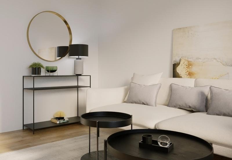projet 3D aménagement salon en longueur par Westwing