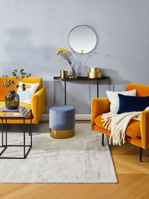 jaune, fauteuil et canapé jaune en velours