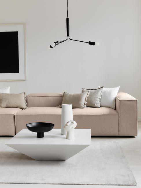 salon minimaliste avec salon beige