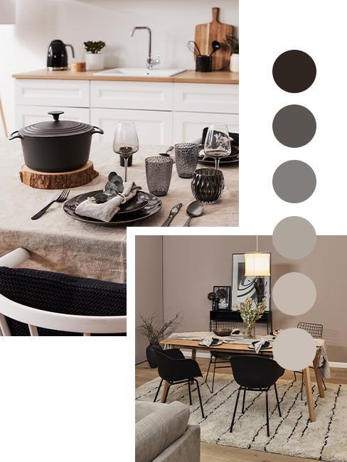 palette de couleur taupe noir