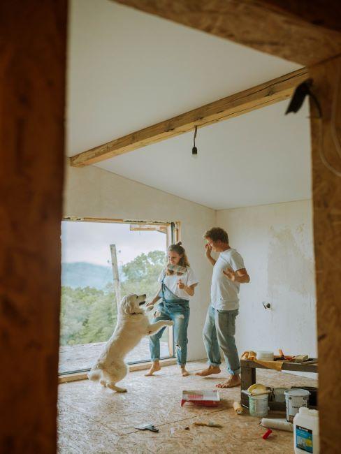 maison en rénovation, couple en train de faire des travaux et de jouer avec leur chien