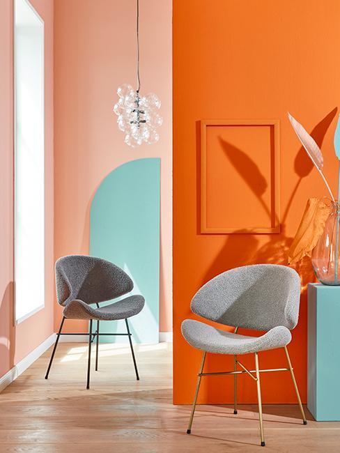 intérieur coloré avec mur orange et pêche