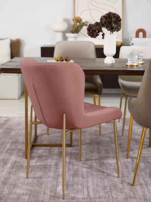 fauteuil de salle à manger vieux rose