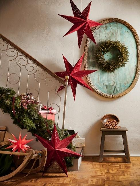 Décoration d'escalier de Noël