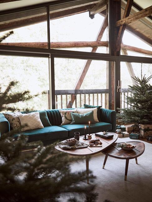 jardin d'hiver, baie vitrée et sapins de noel