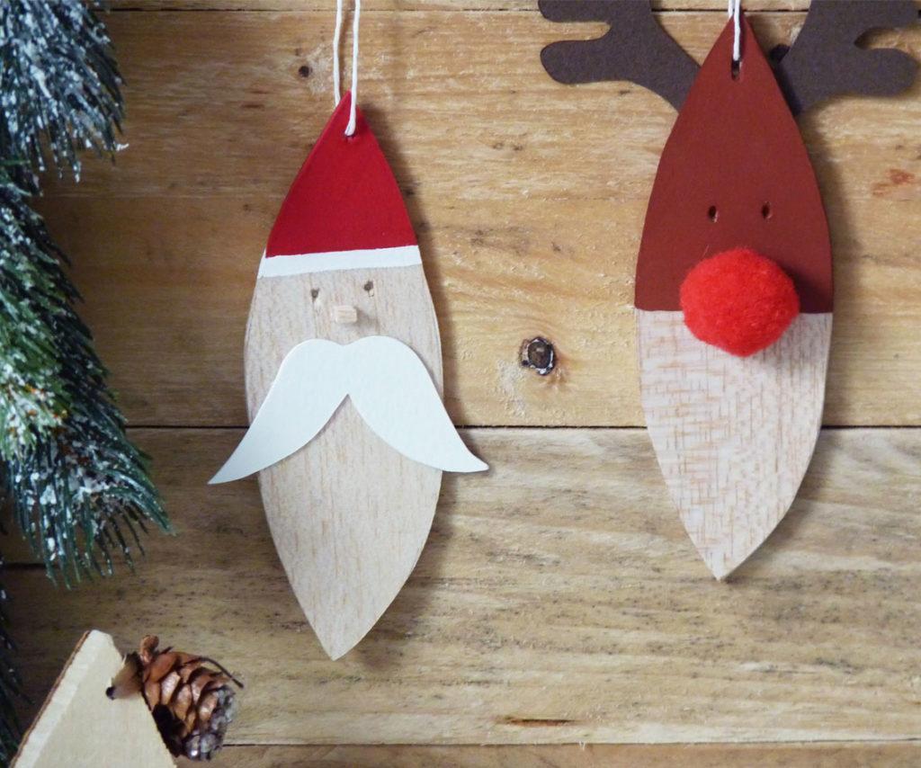 DIY pere noel et renne suspension en bois
