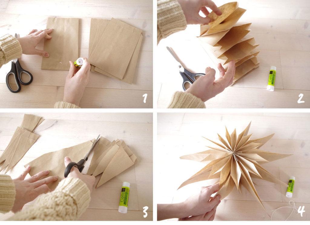 DIY steps etoile papier kraft