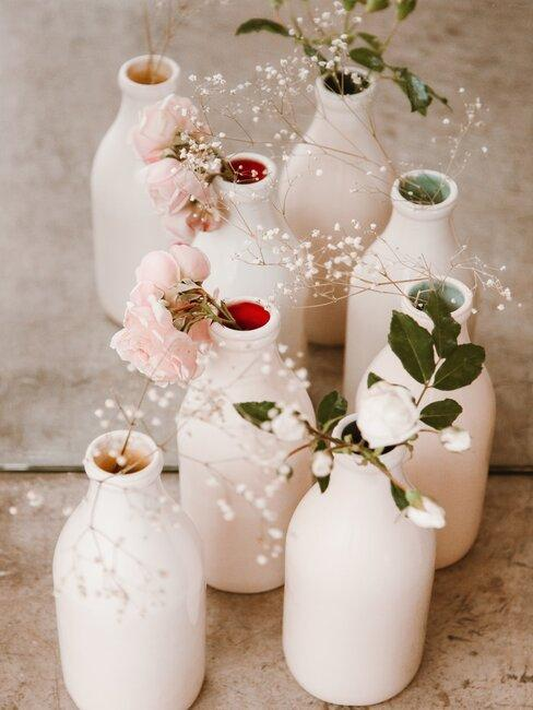 DIY soliflore peint en blanc avec fleurs