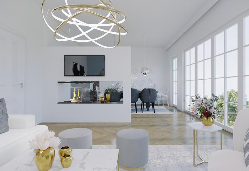 projet 3D d'aménagement d'un grand salon moderne par Westwing 2