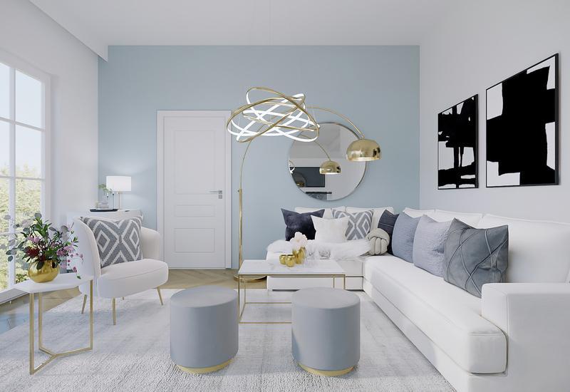 projet 3D d'aménagement d'un grand salon moderne par Westwing 3