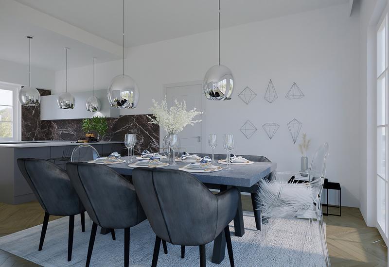 projet 3D d'aménagement d'un grand salon moderne par Westwing 4
