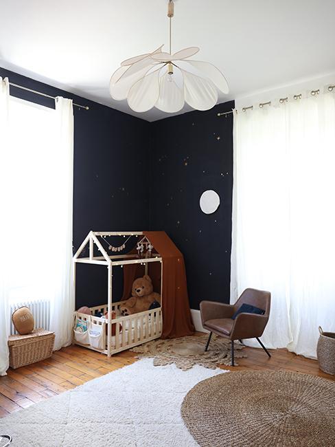 déco chambre d'enfant avec mur foncé ellesenparlent