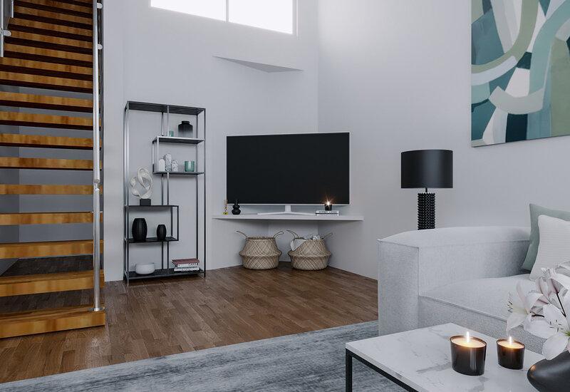 projet 3D salon cuisine ouverte aménagement Westwing 3