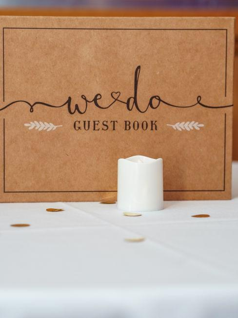 guest book matrimonio con candela bianca