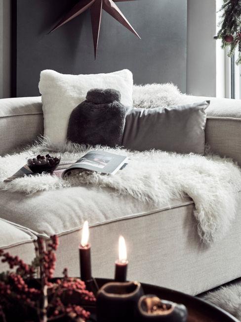 soggiorno con tessili invernali