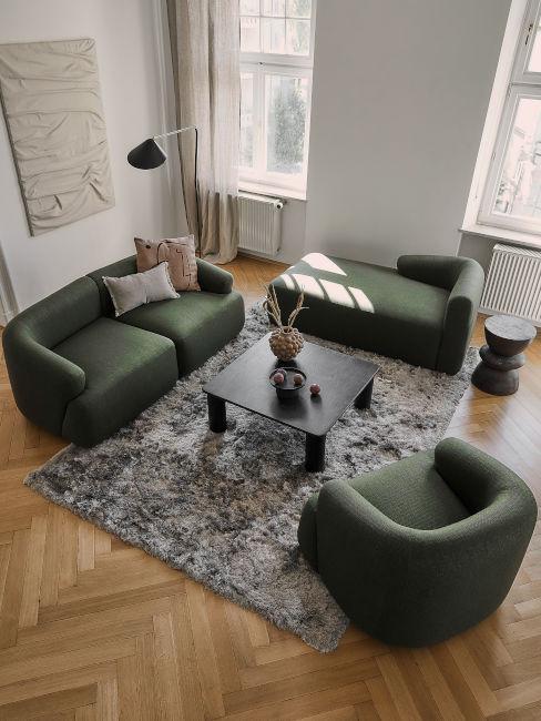 soggiorno verde e grigio
