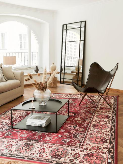 soggiorno con tappeto arabo