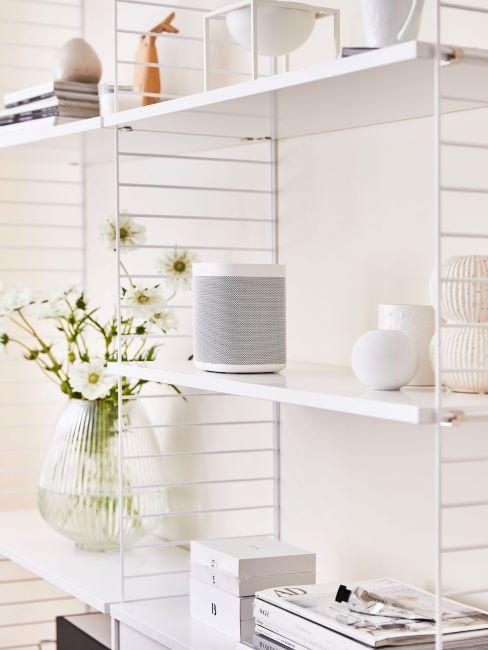 libreria bianca con smart speaker e vasi