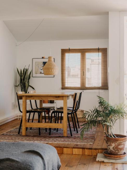 Sala da pranzo classica con piante