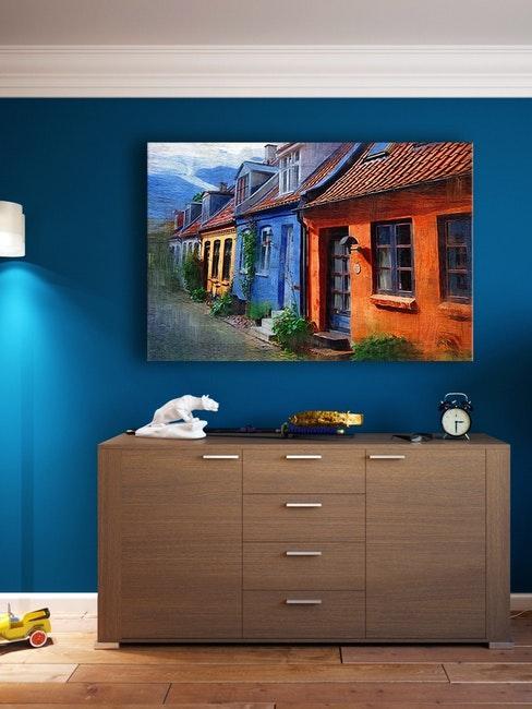 ingresso moderno con parete blu