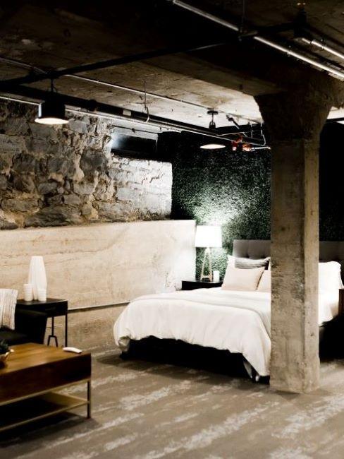 camera da letto stile industriale