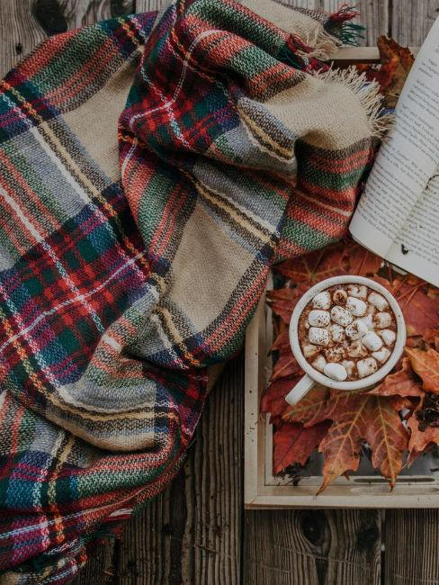 coperta con beige, rosso e verde
