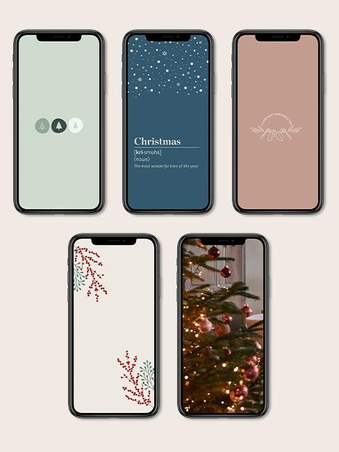 Mockup sfondi natalizi per smartphone