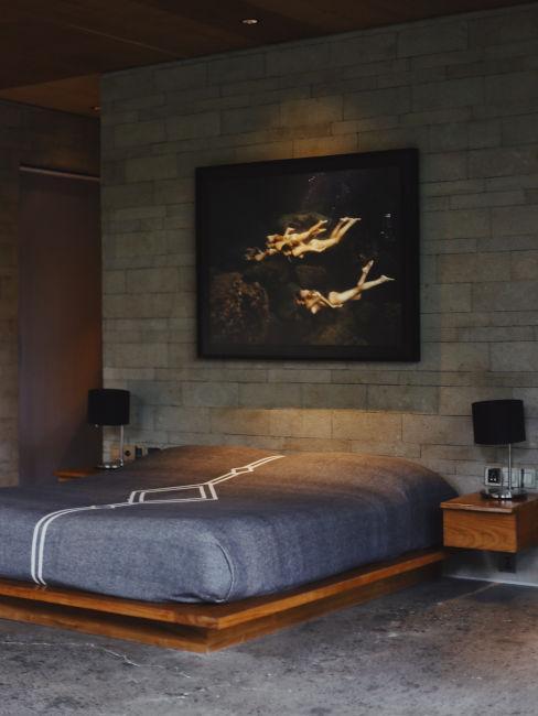 Camera da letto stile industrial