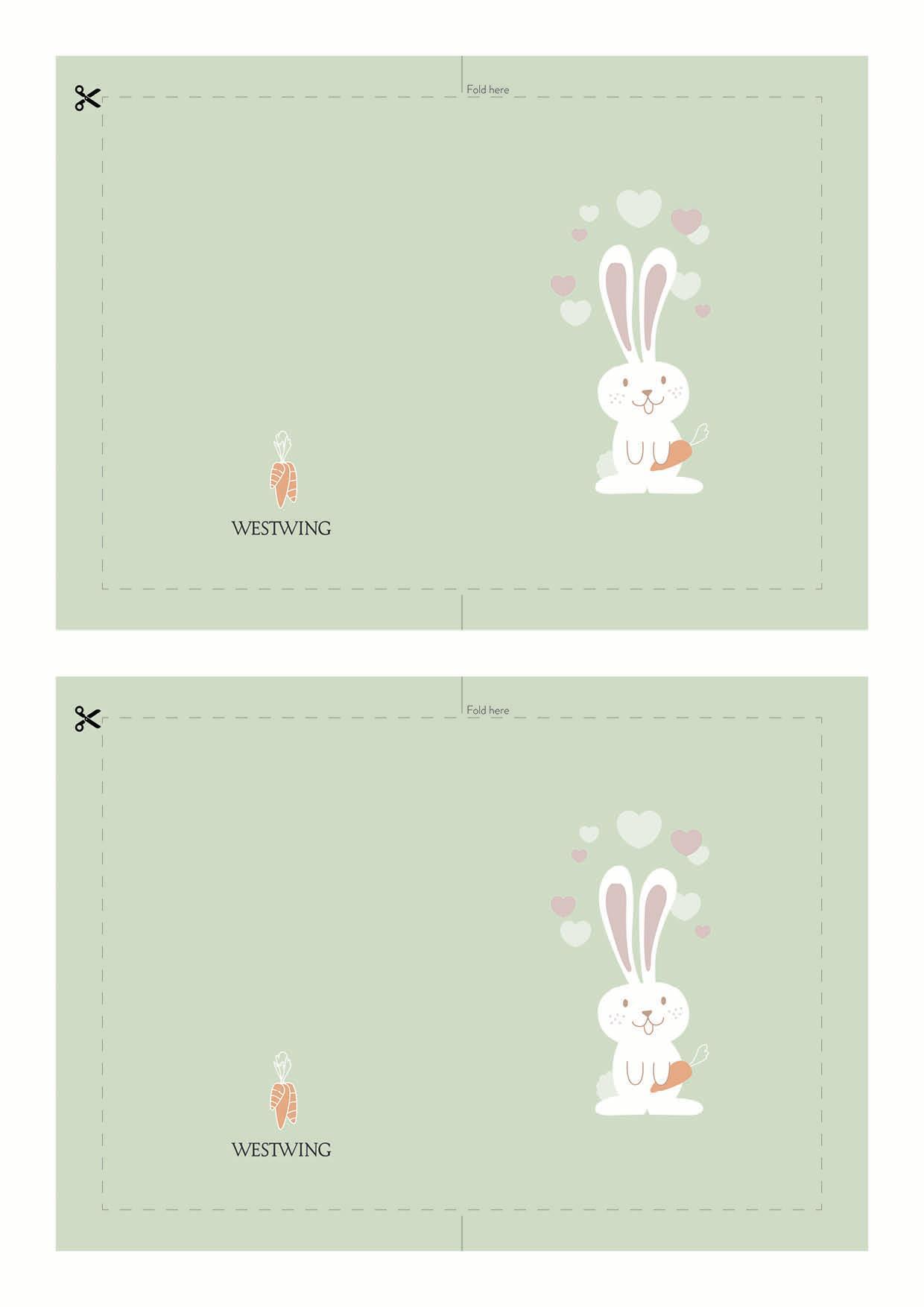 biglietto di Pasqua con coniglio