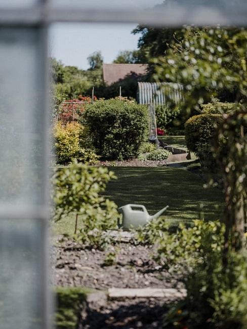 Giardino all'inglese visto dalla serra