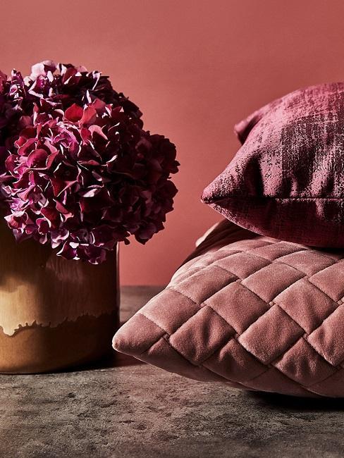 cuscini fiori rosso