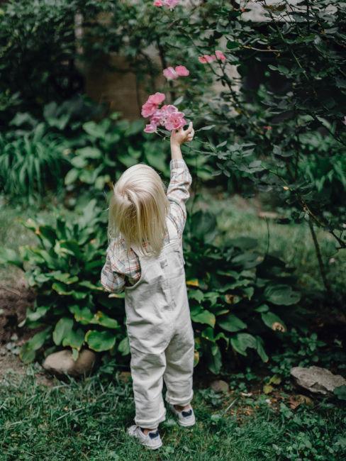 Bambina che raccoglie fiori