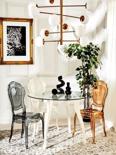 sala da pranzo moderna con decorazioni barocche