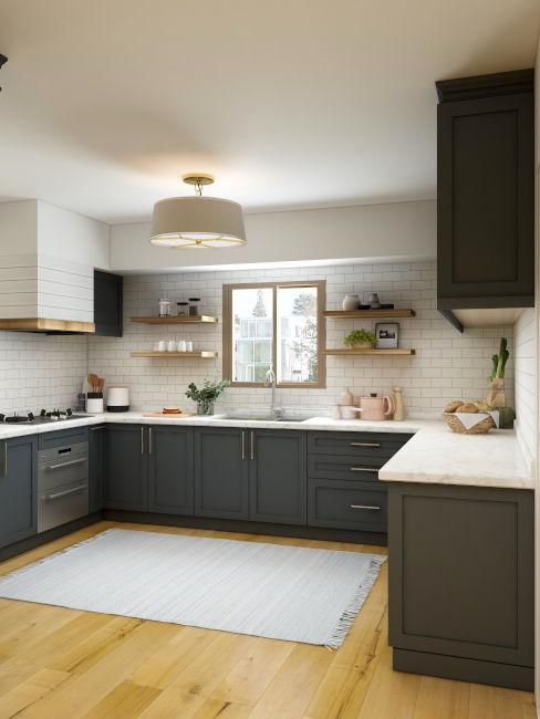 cucina quadrata nera