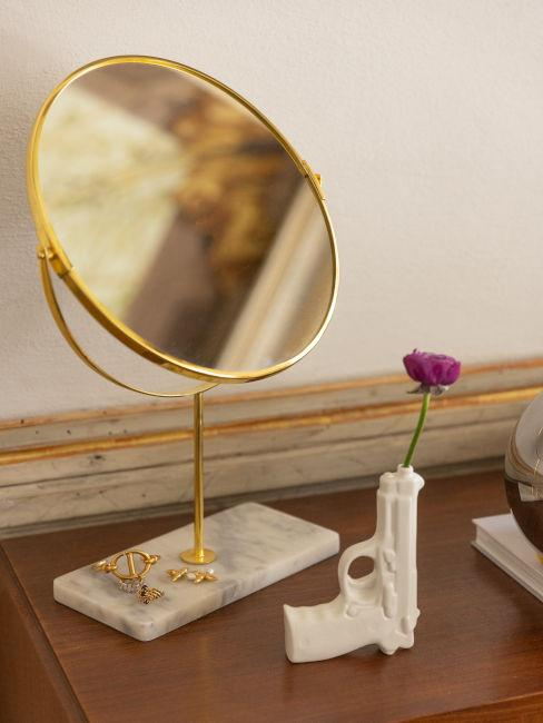 Specchio da tavolo oro con vaso di fiori di design