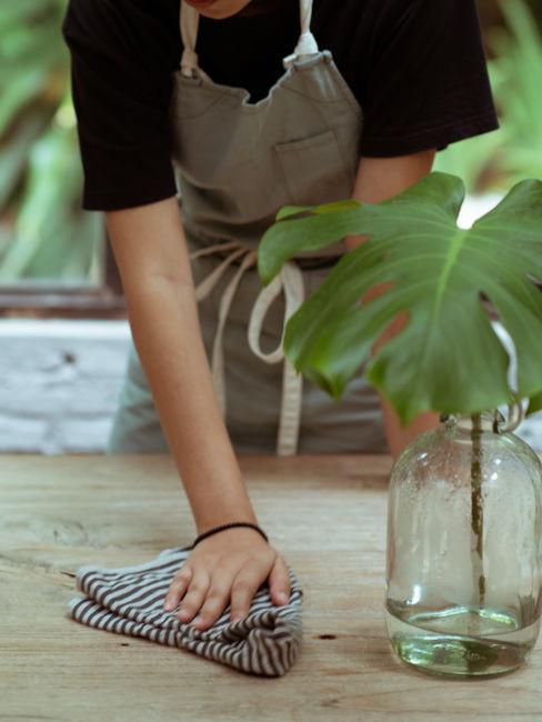 pulizia tavoli in legno