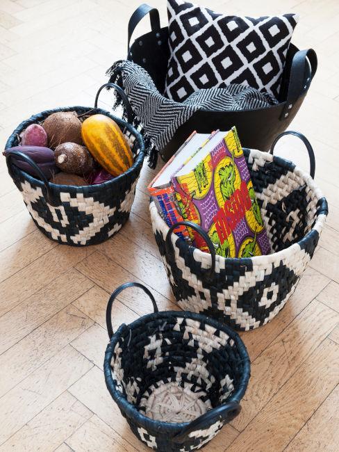 cesti decorativi porta oggetti con pattern etnico