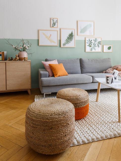 pareti verde menta per soggiorno
