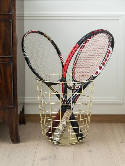 Racchette da tennis come complemento d'arredo