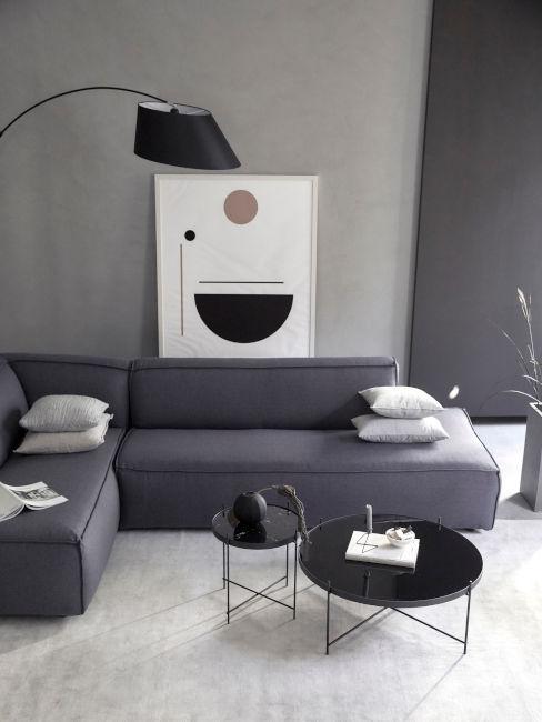 soggiorno minimalista grigio e nero