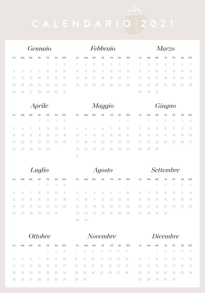 Calendario annuale da stampare 2021