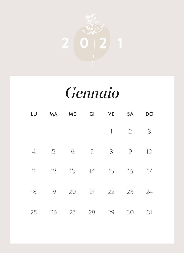 Calendario da stampare Gennaio 2021