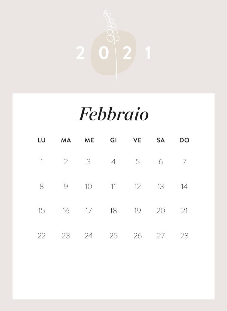 Calendario da stampare Febbraio 2021