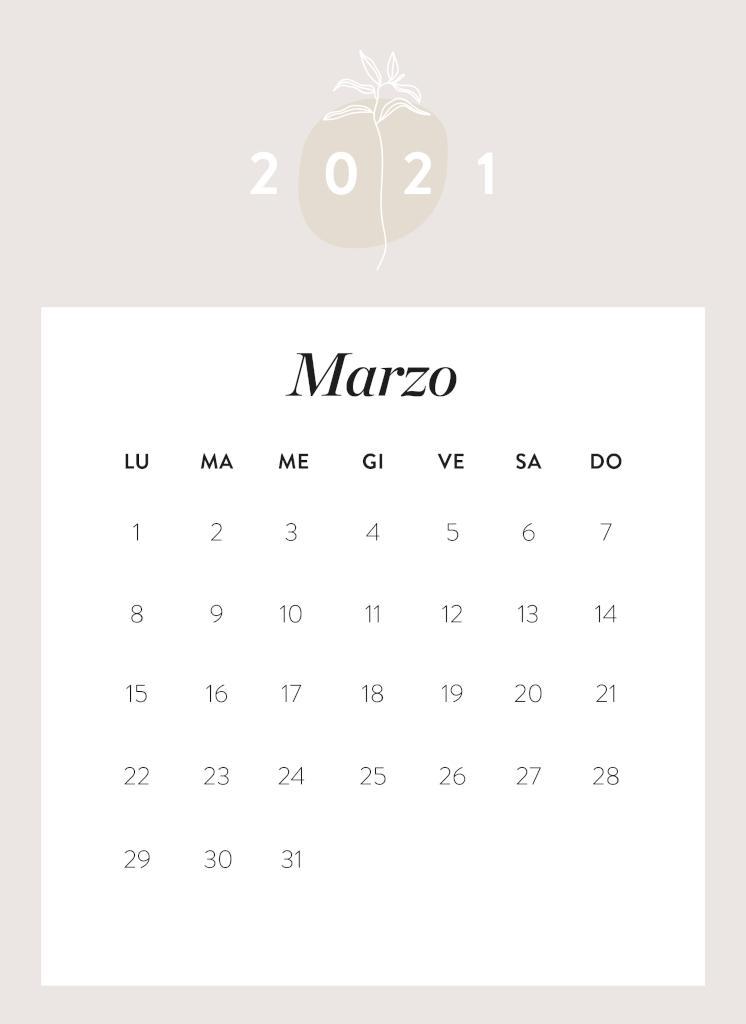 Calendario da stampare Marzo 2021