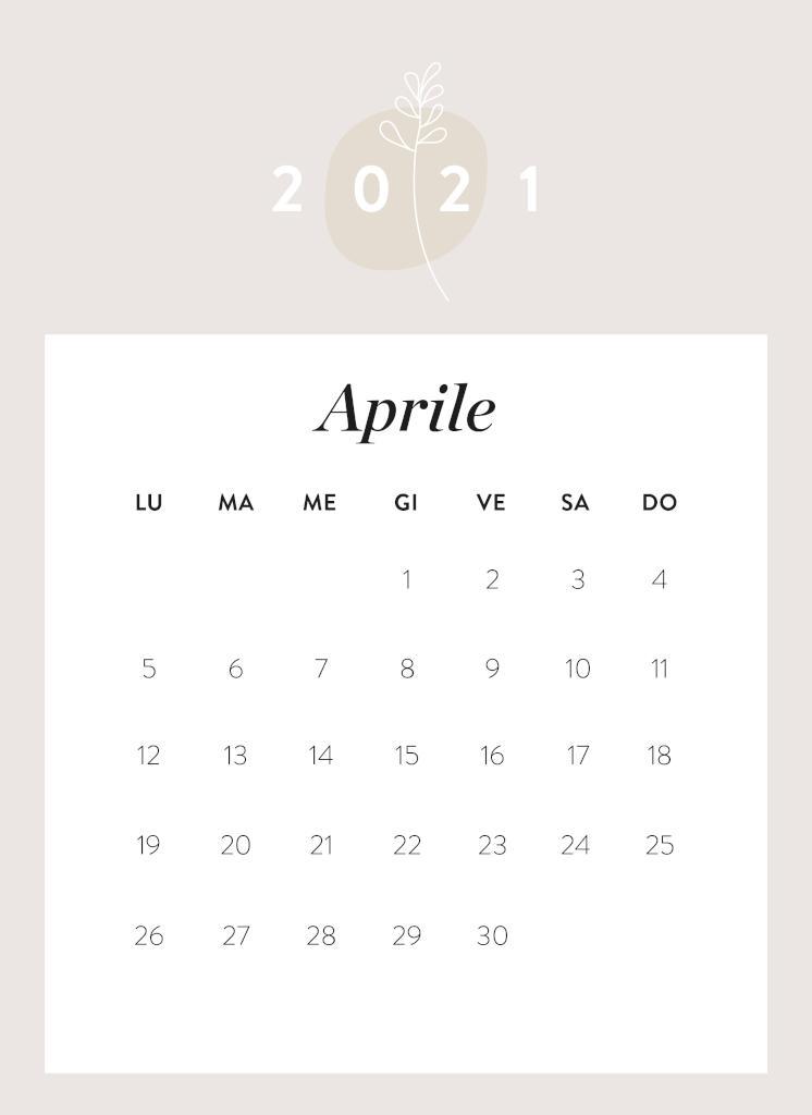 Calendario da stampare Aprile 2021