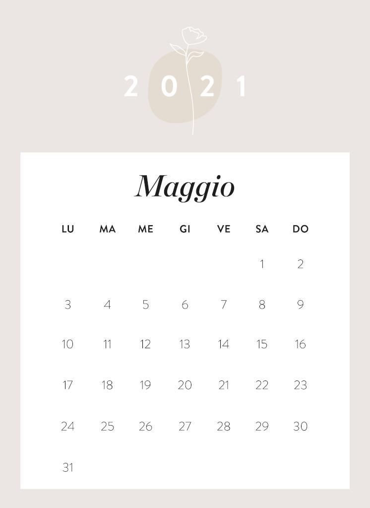 Calendario da stampare Maggio 2021