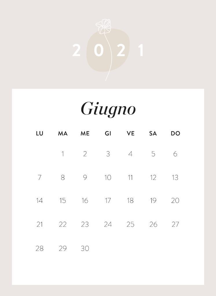 Calendario da stampare Giugno 2021